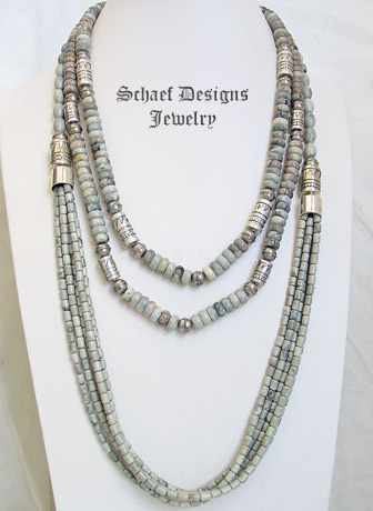 Schaef Designs Putty Picasso Jasper & Sterling Silver Southwestern Basics Long Tube Bead Multi Strand Necklaces | New Mexico