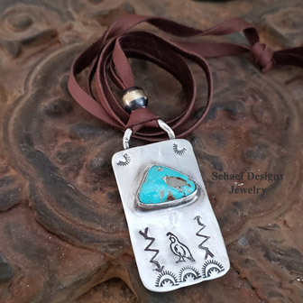 Schaef Designs Quail dog tag deerskin Southwestern necklace | Arizona