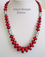 Schaef Designs red coral, black onyx & sterling silver tube bead necklace | New Mexico