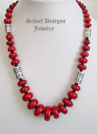 Schaef Designs Red coral, onyx & Sterling silver tube bead single strand necklace | online upscale southwestern equine jewelry gallery boutique | Schaef Designs Southwestern Turquoise Jewelry | New Mexico