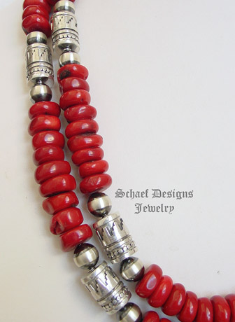 Schaef Designs red coral & sterling silver Southwestern basics tube bead Necklace | New Mexico
