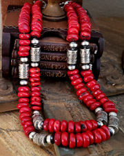 Schaef Designs Red Coral & Sterling Silver Tube Bead Necklaces | New Mexico
