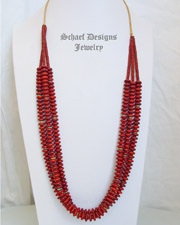 Santa Domingo Red Jasper 3 Strand Long Necklace | New Mexico