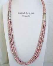 Schaef Designs Long Rhodochrosite & Sterling Silver Multi Strand Necklace | New Mexico