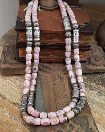 Schaef Designs Denim Lapis & Sterling Silver bead necklace set | New Mexico