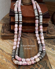 Schaef Designs Rhodochrosite & Sterling Silver Tube Bead Necklace Set | New Mexico