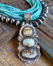 Schaef Designs Royston Boulder Ribbon Turquoise & Sterling Silver Southwestern Pendant | New Mexico