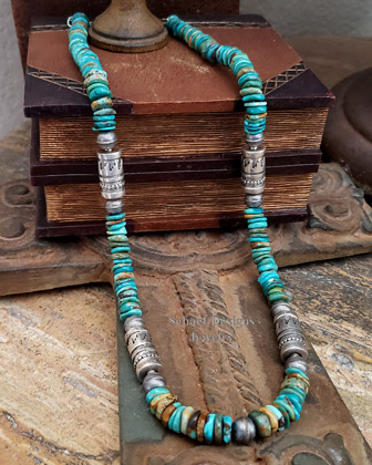 Schaef Designs Royston Turquoise disk & sterling silver tube bead Southwestern necklace set | New Mexico