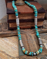 Schaef Designs Royston Turquoise Disk & Sterling Silver Necklace | New Mexico