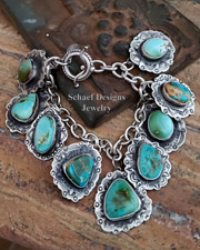Schaef Designs High Grade Royston Turquoise & Sterling Silver Reversible Southwestern Charm Bracelet | New Mexico