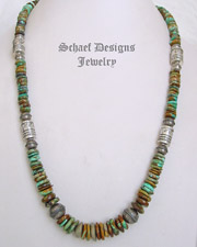 Schaef Designs Royston turquoise & Sterling Silver tube bead necklace | New Mexico