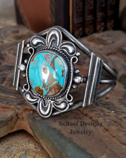Dean Sandoval Royston Turquoise & sterling silver cuff Bracelet | Schaef Designs | New Mexico