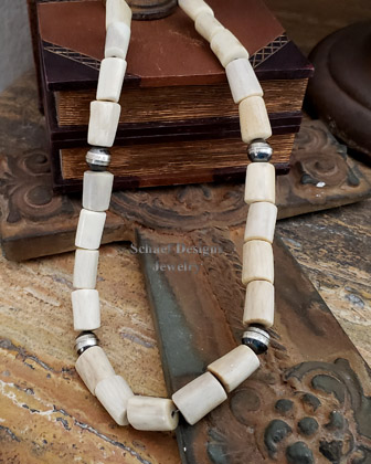 Schaef Designs deer antler shed & sterling silver bench bead Southwestern necklaces | New Mexico