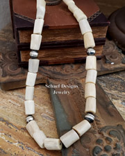 Schaef Designs deer antler & Sterling Silver bench bead Necklace | New Mexico