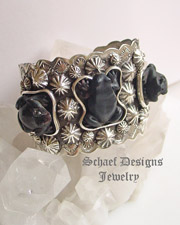 Schaef Designs Black Jet Carved frog & sterling silver cuff bracelet by Gary G | totem animal jewelry | Vintage Collection | Native American Jewelry  | online upscale native american & southwestern jewelry boutique gallery| Schaef Designs Southwestern turquoise Jewelry | New Mexico