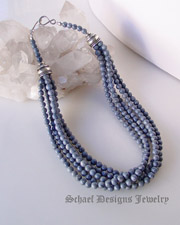 Schaef Designs denim blue coral & sterling silver 4 strand Southwestern necklace  | New Mexico