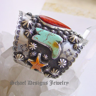 Schaef Designs Large Spiny heart & stars and turquoise boots, sterling silver cuff bracelet | Arizona