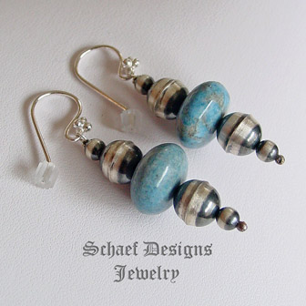 Schaef Designs Light Blue Denim Lapis & Oxidized Sterling Silver Navajo Pearl Wire Earrings | New Mexico