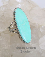 Schaef Designs Jewelry Powder blue turquoise & Sterling Silver long oval ring | New Mexico