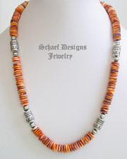 Schaef Designs orange spiny oyster shell Sterling Silver Southwestern style tube & bench bead necklace | Southwestern Basics Collection | Native American Jewelry | online upscale native American & southwestern jewelry boutique gallery| Schaef Designs Southwestern turquoise Jewelry | New Mexico