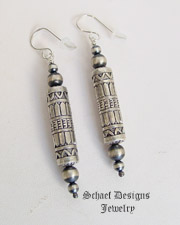 Schaef Designs Sterling Silver Southwestern style tube & bench bead earrings  | New Mexico