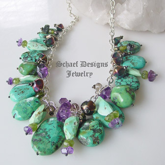 schaef designs turquoise gemstone sterling silver charm necklace