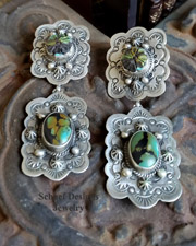 Schaef Designs Turquoise & Amber Sterling Silver LARGE POST Earrings | New Mexico
