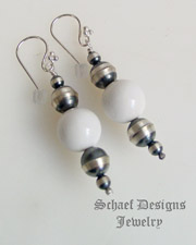 Schaef Designs white agate & Sterling Silver navajo pearl bench bead wire earrings | New Mexico