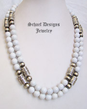Schaef Designs Sterling Silver & white agate Southwestern style tube & bench bead necklace  | New Mexico