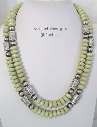 Schaef Designs Serpentine & sterling silver tube bead Southwestern basics necklace set | New Mexico
