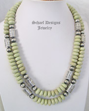 Schaef Designs Southwestern Basics Serpentine & Sterling Silver Tube Bead Necklaces | New Mexico
