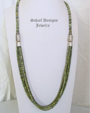 Schaef Designs Green Serpentine & Sterling Silver Long Multi Strand Southwestern Basics Necklace | New Mexico