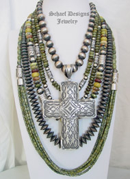 Schaef Designs serpentine, green garnet & sterling silver Necklace Pairings | New Mexico
