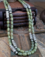 Schaef Designs Serpentine & Sterling Silver Tube Bead Necklace Set | New Mexico