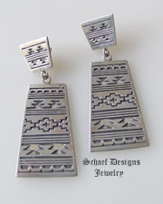 Sterling silver indian blanket design post dangle earrings | New Mexico