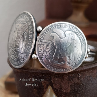 Old Coin Jewelry Silver Dollar Half Dollar Native American Handcrafted Cuff Bracelet | Arizona