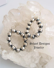 Small sterling silver bench bead hoop wire earrings | Schaef Designs | New Mexico