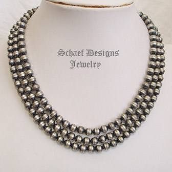 Small Tres Platos Sterling Silver Bench Bead Necklace| Schaef Designs | New Mexico