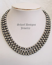 Schaef Designs Small Tres Platos Sterling Silver 3 Strand Bench Bead Necklace | New Mexico
