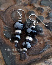 Schaef Designs Snowflake Obsidian & Sterling Silver Bench Bead Wire Earrings  | New Mexico