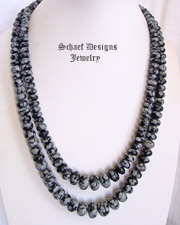 Schaef Designs Graduated Snowflake Obsidian & Sterling Silver Necklace | New Mexico