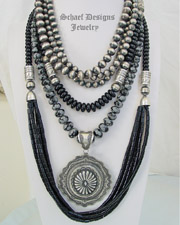 Schaef Designs Snowflake Obsidian Black Onyx Navajo Pearl Necklace Pairings | New Mexico