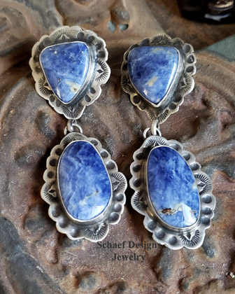 Schaef Designs Sodalite & Hand stamped sterling silver Southwestern POST Earrings | Arizona