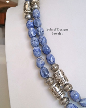 Schaef Designs Sodalite Barrel Beads & sterling silver Southwestern basics necklace set | New Mexico