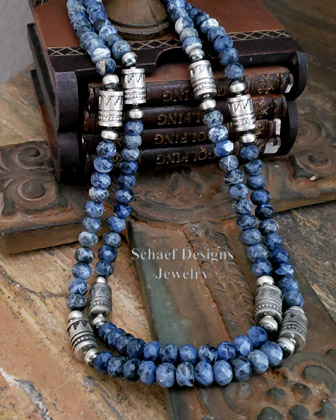 Schaef Designs sodalite & sterling silver tube bead necklace set | Southwestern Basics Collection | New Mexico