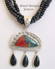 Schaef Designs Sonoran Sunrise Black Onyx & Sterling Silver Pendant |New Mexico