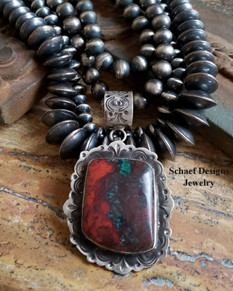 Schaef Designs Sonoran Sunrise & Hand Stamped Sterling Silver Southwestern Pendant | New Mexico