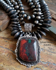 Schaef Designs Sonoran Sunrise & Stamped Sterling Silver Southwestern Pendant | New Mexico