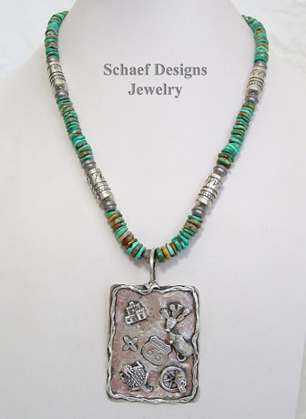 Schaef Designs Southwestern Barbed wire Sampler sterling silver pendant | New Mexico