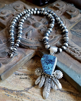 Native American artist signed Emer Thompson Spiderweb Turquoise & Sterling Silver Feather Pedant AND Necklace | Schaef Designs Southwestern & turquoise Jewelry | New Mexico